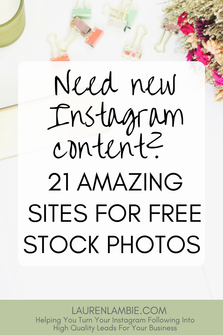 Want new content for Instagram? Here's a great list of free stock photo sites. They are hand picked for their beautiful, interesting and original photos that can make any Instagram feed, or content for other social media, look stunning. Perfect for the startup entrepreneur looking to get their Instagram account up and running.